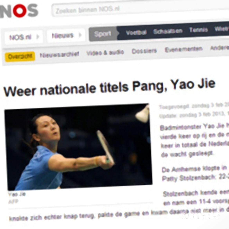 NOS: 'Weer nationale titels Pang, Yao Jie'