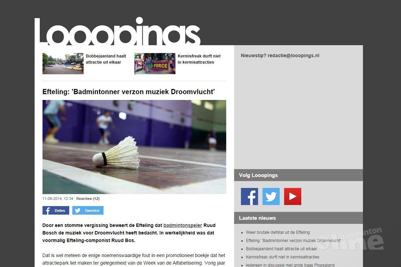 Efteling: 'Badmintonner verzon muziek Droomvlucht'