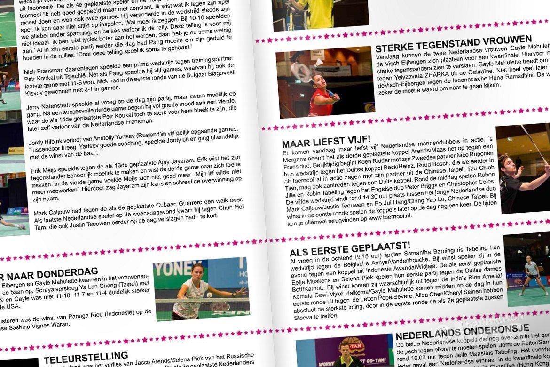 Dagkrant donderdag 9 oktober 2014 - Yonex Dutch Open