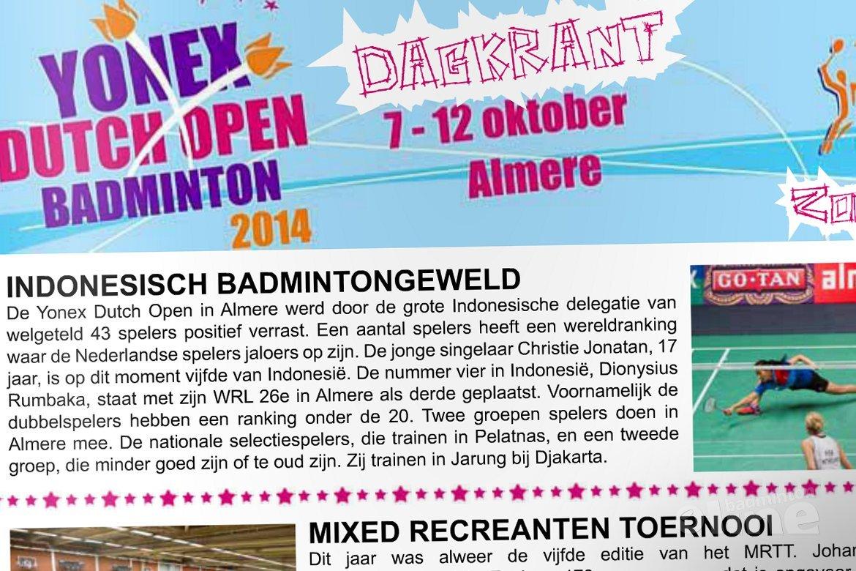Dagkrant zondag 12 oktober 2014 - Yonex Dutch Open