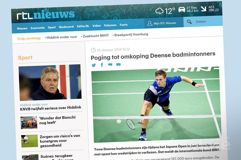 Poging tot omkoping Deense badmintonners