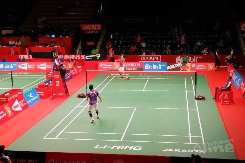 Erik Meijs speelt 31 minuten tijdens zijn WK in Jakarta: 21-17 21-10