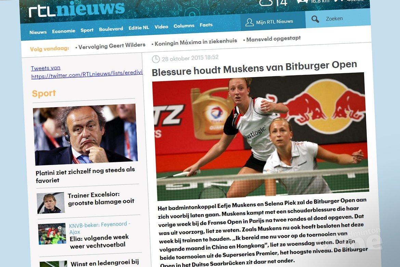 Blessure houdt Muskens van Bitburger Open