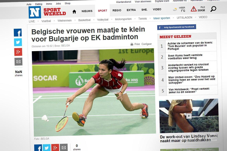 Belgische vrouwen maatje te klein voor Bulgarije op EK badminton