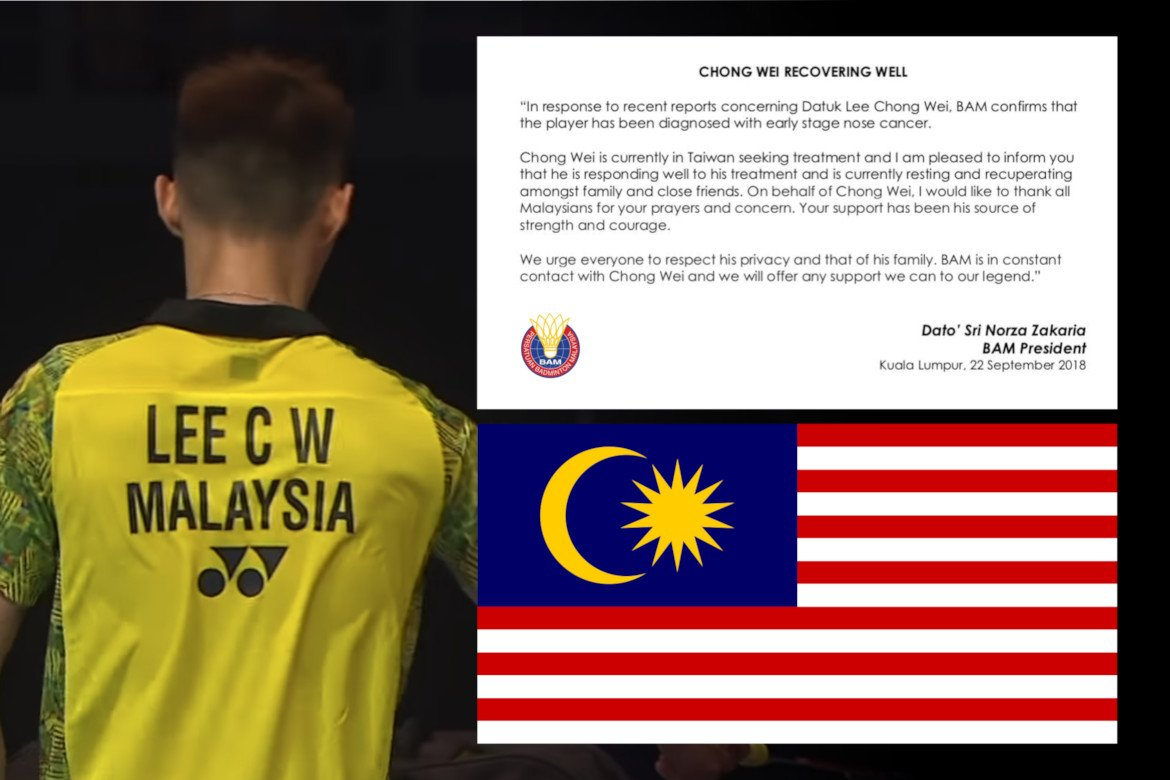 CONFIRMED: Malaysian badminton super star Lee Chong Wei diagnosed with early stage nose cancer