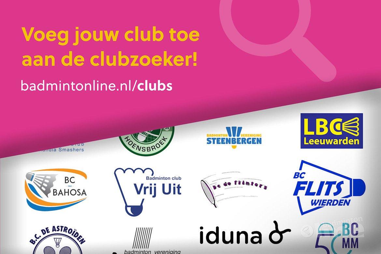 Voeg jouw club toe aan de clubzoeker!
