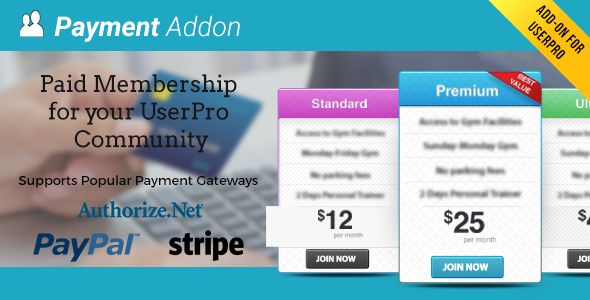 Payment Addon for UserPro v3.0