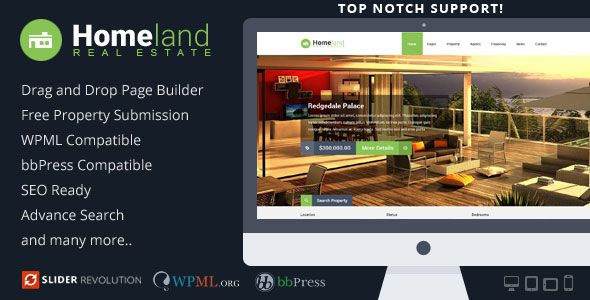Homeland v3.1.4 – Responsive Real Estate WordPress Theme