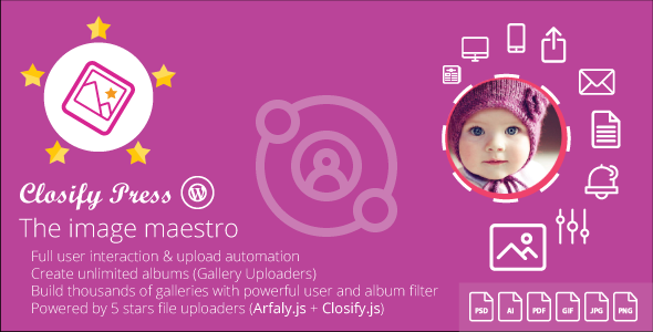 Closify Press v1.9.6 – Frontend Photo Upload + Live Gallery Builder