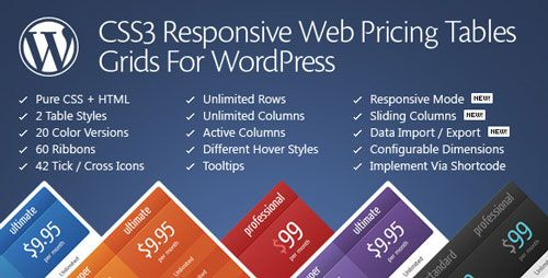 CSS3 Responsive Web Pricing Tables Grids For WordPress v10.9