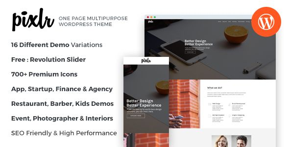 Pixlr – Premium One Page Multipurpose WordPress Theme