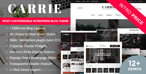 Carrie – Personal & Magazine Responsive Clean Blog Theme