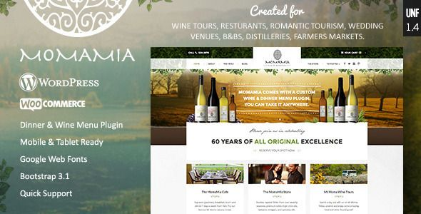 Momamia v1.4.2 - Restaurant & Winery WooCommerce WP Theme
