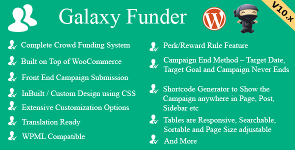 Galaxy Funder v11.5 – WooCommerce众筹系统