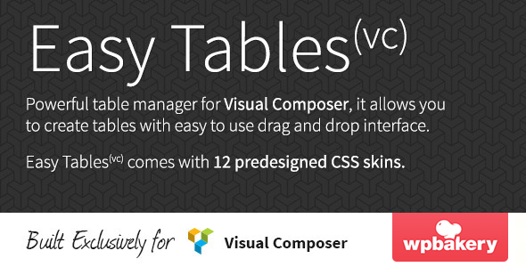 Easy Tables v1.0.11 – Table Manager for Visual Composer
