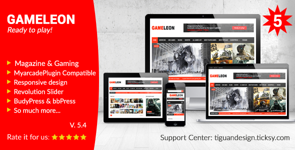 Gameleon v5.4 – WordPress Magazine & Arcade Theme