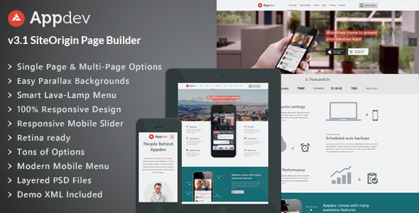 Appdev v3.6 – Mobile App Showcase WordPress Theme