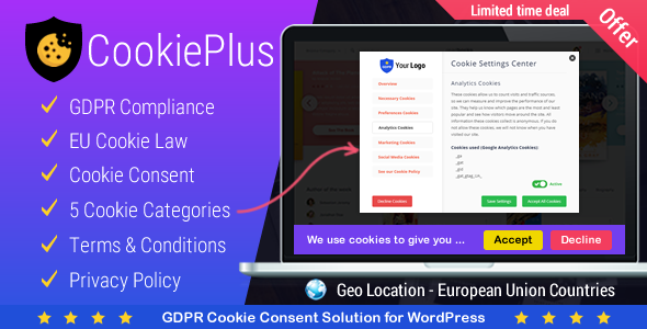 Cookie Plus v1.4.5 – GDPR Cookie同意解决方案