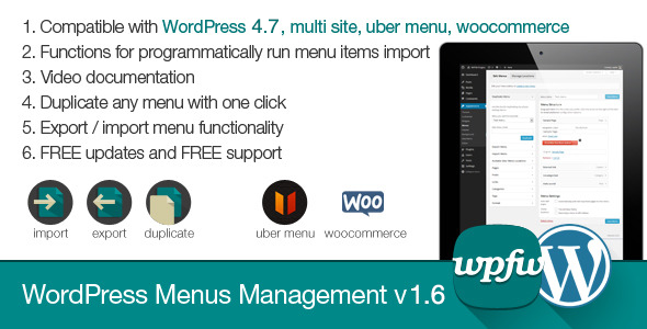WordPress Menus Management v1.6
