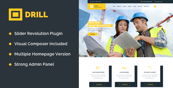 Drill v1.1 – Construction & Building WordPress Theme