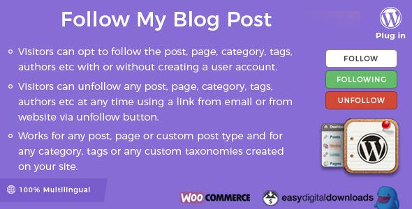 Follow My Blog Post WordPress Plugin v2.0.0 – 博客关注插件