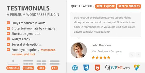 Testimoonials WordPress Plugin v2.3