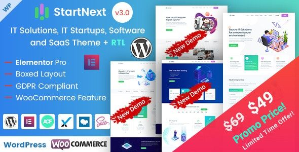 StartNext V3.5 – Elementor IT/业务初创公司WP主题