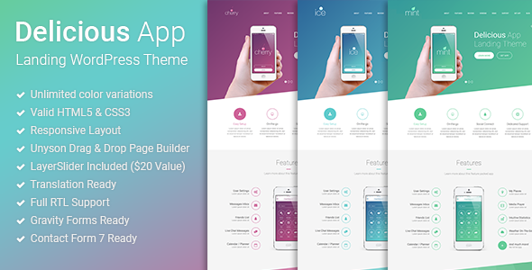 Delicious v1.0.2 – Responsive App Landing WordPress Theme