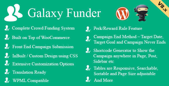 Galaxy Funder v8.8 – WooCommerce Crowdfunding System