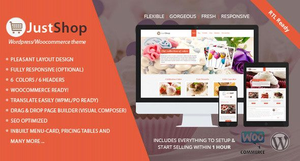 Justshop v7.2 – Cake Bakery Restaurant WordPress Theme