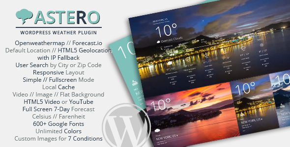 Astero WordPress Weather Plugin v2.0 – 天气插件