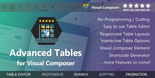 Tablenator v1.2.0 – Advanced Tables for Visual Composer