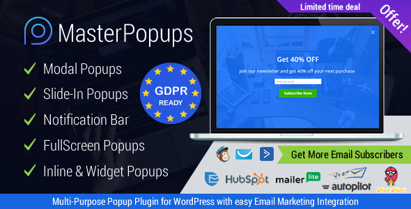 Master Popups v3.4.0 – WordPress弹窗插件