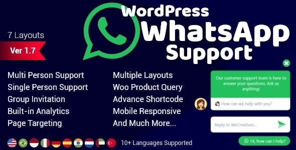 WordPress WhatsApp Support v1.9.1 – 网站客服支持插件