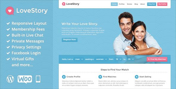 LoveStory v1.18 – Themeforest Dating WordPress Theme