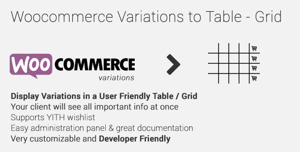 Woocommerce Variations to Table – Grid v1.3.4
