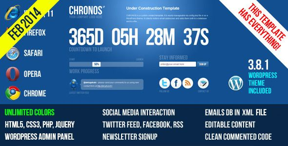 Chronos Under Construction Template v2.1 + WP Theme