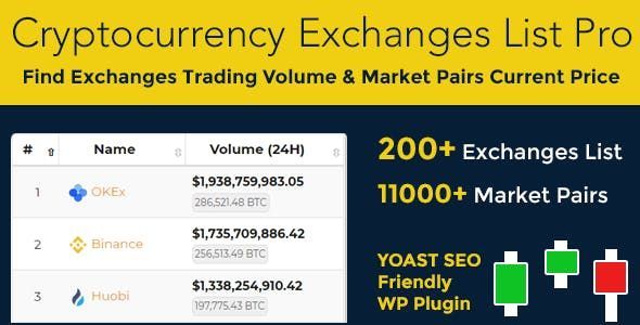 Cryptocurrency Exchanges List Pro v2.0.0 – WordPress交易清单插件