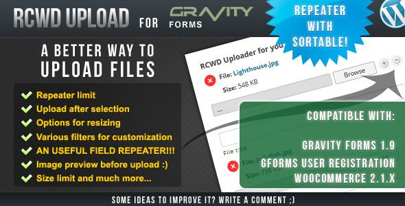 Rcwd Upload for Gravity Forms v1.1.7.0