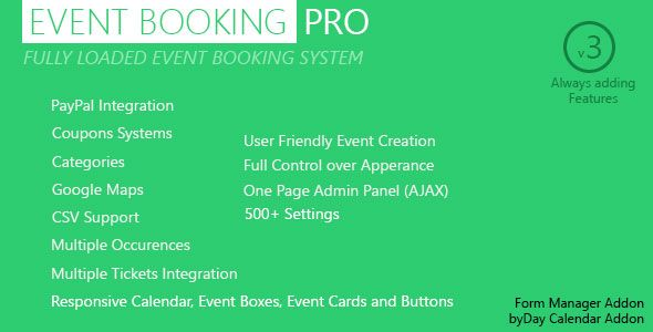 Event Booking Pro v3.91 – WP Plugin paypal or offline