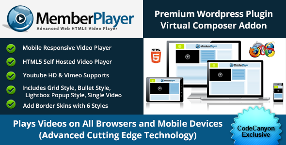 MemberPlayer HTML5 Video, Youtube, & Vimeo v1.13.0 – VC Addon