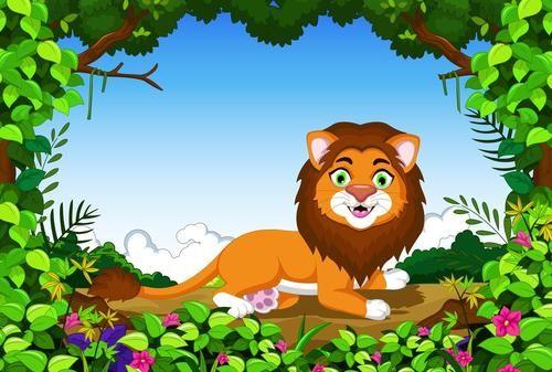 森林大王狮子说大话打蚊子的故事 童话故事大全 儿童睡前故事大全 儿童故事  第1张