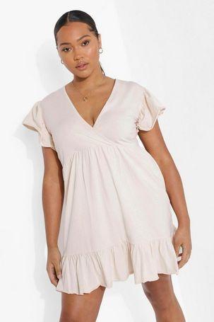 Womens Plus Ruffle Wrap Front Smock Dress - Pink - 20, Pink