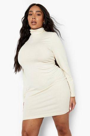 Womens Plus Long Sleeve Roll Neck Mini Bodycon Dress - Beige - 20, Beige
