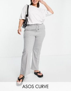ASOS DESIGN Curve flare jogger with pintuck in grey marl