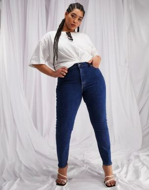 ASOS DESIGN Curve high rise ridley 'skinny' jeans in midwash-Blue