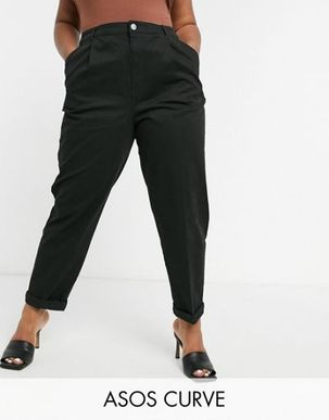 ASOS DESIGN Curve hourglass chino trousers in black