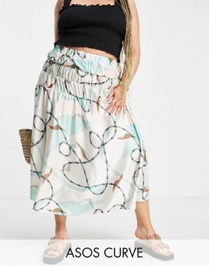 ASOS DESIGN Curve midi skirt with contrast trim in abstract print-Multi