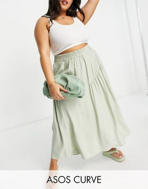 ASOS DESIGN Curve midi skirt with gathered detail in sage-Multi