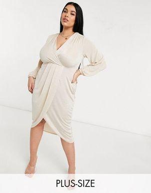 Closet London Plus twist wrap front jersey wrap dress in stone-Neutral